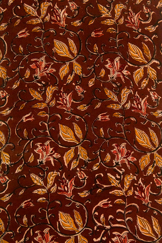 Maroonish Brown Block Printed Kalamkari Fabric