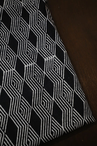 Black 3 D Diamond Block Printed Cotton Fabric
