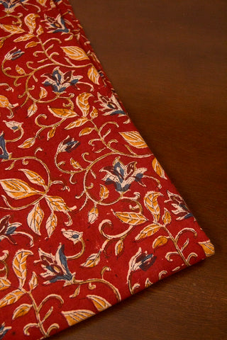 Maroon with Yellow Leaves Block Printed Kalamkari Fabric