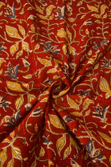 Maroon with Yellow Leaves Block Printed Kalamkari Fabric -0.6m