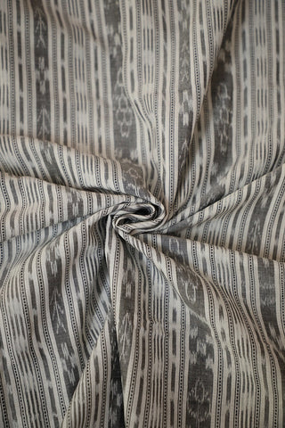 Grey with Off White Orissa Ikat Cotton Fabric
