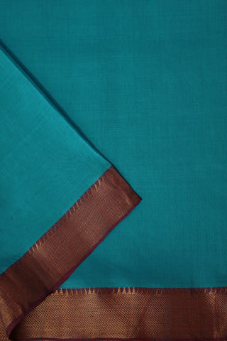 Ramar Blue with Temple Border Mangalagiri Cotton Fabric