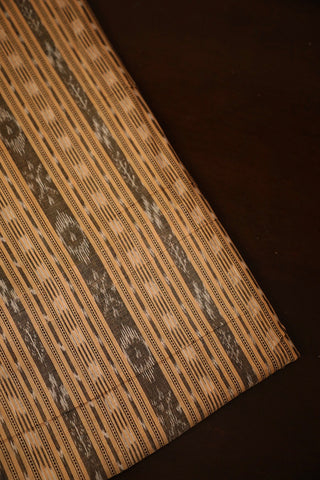 Beige with Grey Orissa Ikat Cotton Fabric