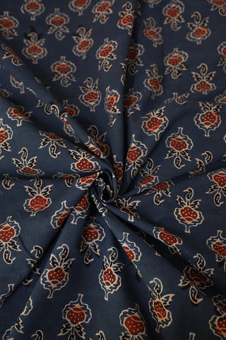 Indigo Block Printed Ajrak Cotton Fabric-0.7m