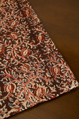 Brown with Lotus Block Printed Kalamkari Fabric