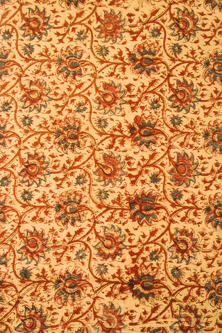 Beige with Peach Floral Block Printed Kalamkari Fabric