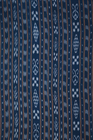 Blue with Yellow Orissa Ikat Cotton Fabric