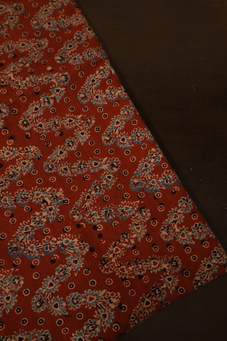 Floral Zig Zag Ajrak Cotton Fabric