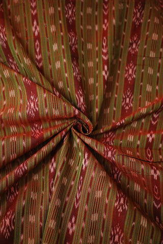 Double Shade Green and Maroon Orissa Ikat Cotton Fabric