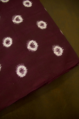 Off White Circles Handwoven Double Ikat Cotton Fabric - 1.5m