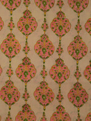 Pink with Peach Sanganeri hand block printed fabric