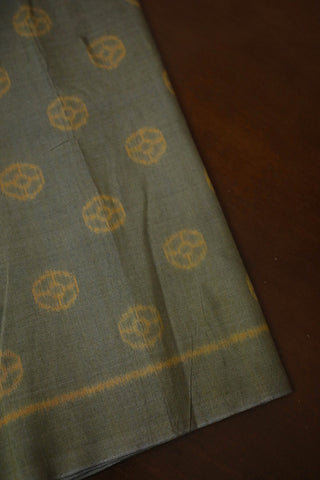 Understated Greenish Grey Orissa Ikat Cotton Fabric