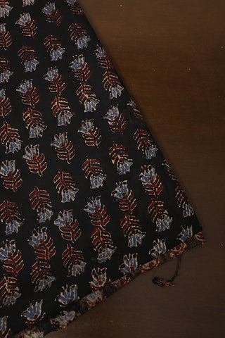 Maroon with Subdued Indigo Small Floral Ajrak Cotton Fabric-0.5m