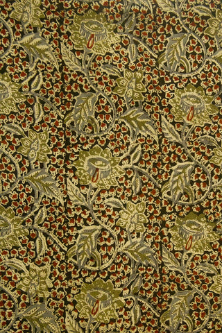 Black with Olive Green Flower Block Printed Kalamkari Fabric
