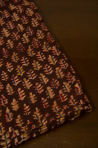 Dark Maroon Leaf Block Printed Kalamkari Fabric