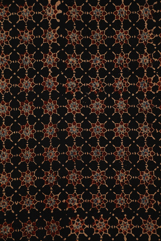 Black with Maroon Stars Ajrak Cotton Fabric