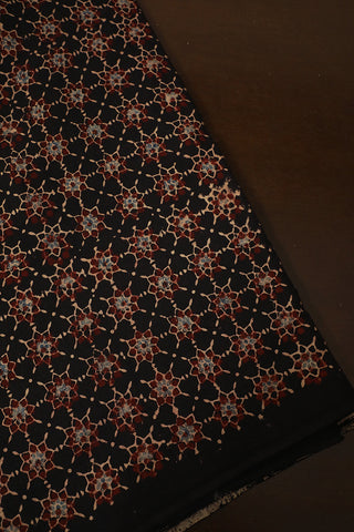 Black with Maroon Stars Ajrak Cotton -1m