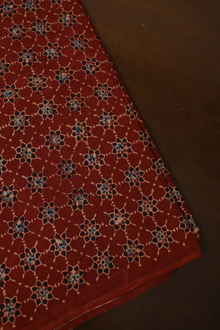 Maroon with Black Stars Ajrak Cotton Fabric