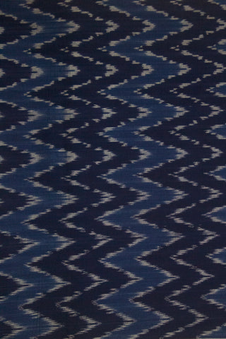 Shades of Blue Zig Zag Handwoven Ikat Cotton Fabric