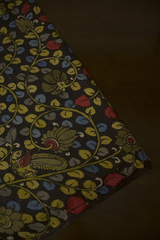 Elephant Grey with Floral Design Painted Kalamkari Cotton Fabric