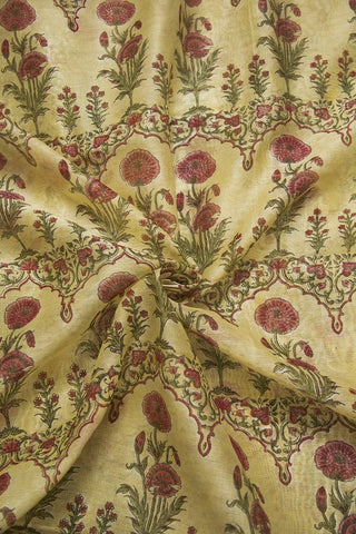 Ivory with Pink Flowers Sanganeri Chanderi Fabric