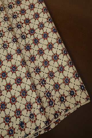 Light Beige with Blue Stars Ajrak Cotton Fabric