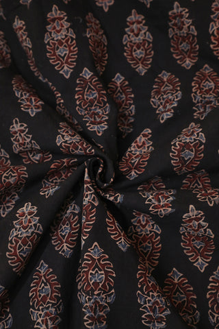 Maroon Floral in Black Ajrak Cotton Fabric