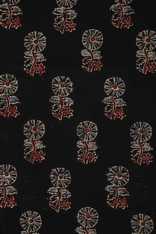 Black Floral Ajrak Cotton Fabric