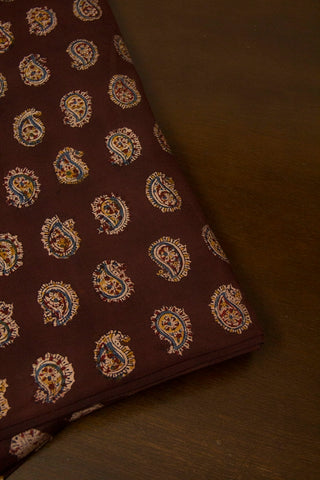 Paisley In Maroon Block Printed Kalamkari Fabric