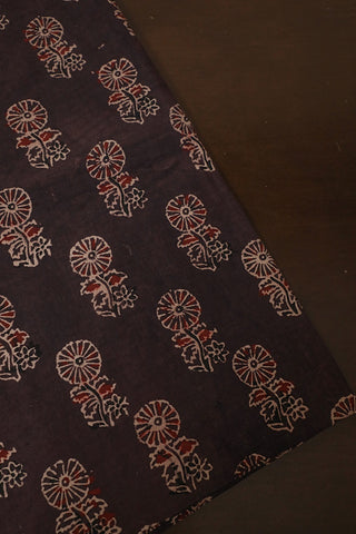 Greyish Brown Floral Ajrak Cotton Fabric