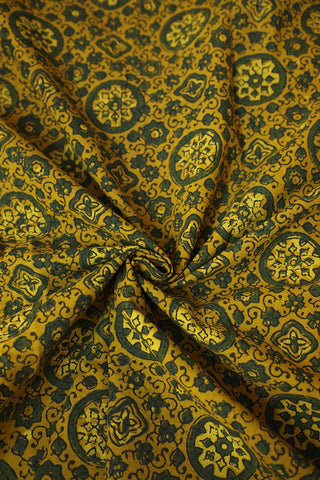Yellow with Green Floral Ajrak Cotton Fabric