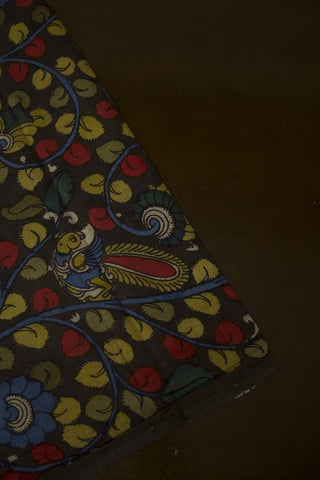 Red with Blue Floral Painted Kalamkari Cotton Fabric