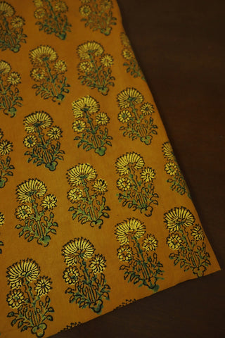 Yellow Daisy Floral Ajrak Cotton Fabric