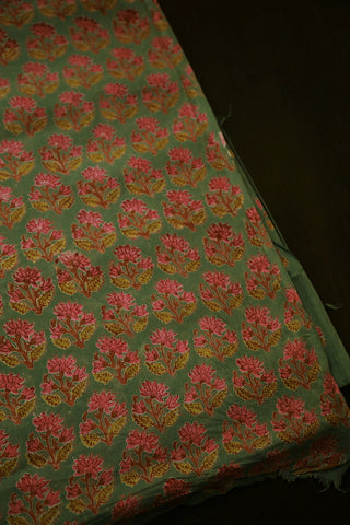 Pink Floral in Light Green Block Printed Cotton Fabric