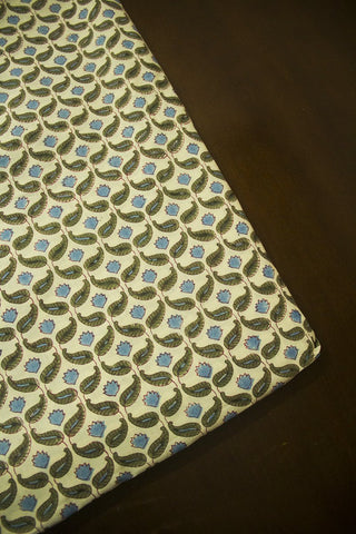 Light Beige with Green Paisley Sanganeri Cotton Fabric
