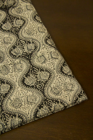 Black with Off White Block Printed Kalamkari Fabric