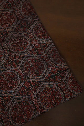 Black with Maroon Intricate Design Ajrak Cotton Fabric