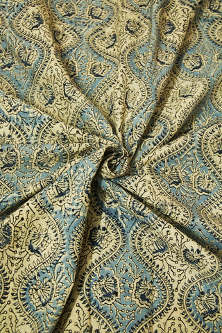 Off White with Blue Block Printed Kalamkari Fabric