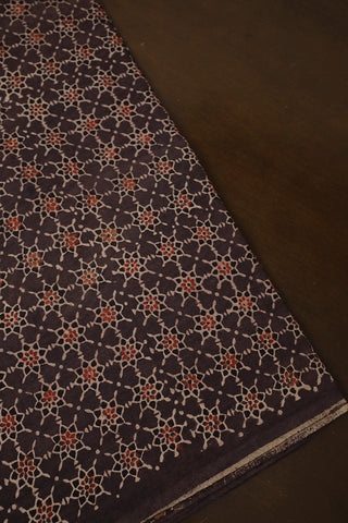 Greyish Brown with Maroon Stars Ajrak Cotton Fabric