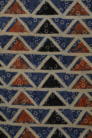 Black with Indigo Triangle Ajrak Cotton Fabric