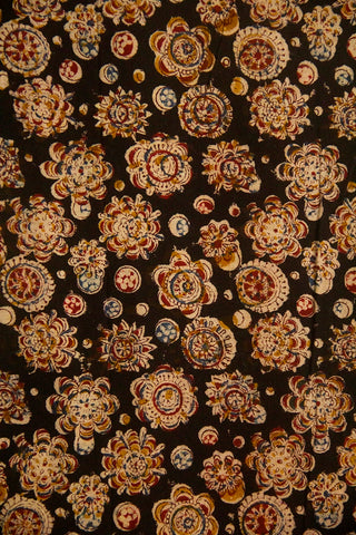 Black with Circles Block Printed Kalamkari Fabric