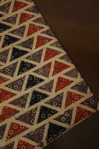 Grey with Rust Red Triangle Ajrak Cotton Fabric