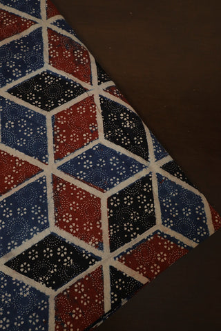 Rust Red with Black Diamond Star Ajrak Cotton Fabric