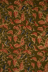 Olive Green Leaves Block Printed Kalamkari Fabric