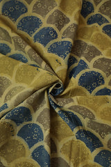 Yellowish Green with Indigo Fish Scales Ajrak Cotton Fabric