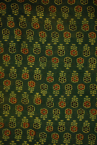 Green With Red and Black Floral Ajrak Fabric-1.9 m