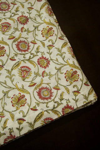 Off White with Peach Floral Sanganeri Cotton Fabric