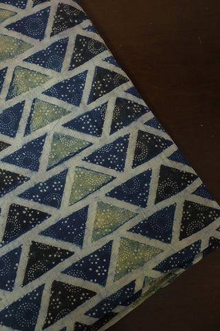 Indigo with Yellowish Green Triangle Ajrak Cotton Fabric