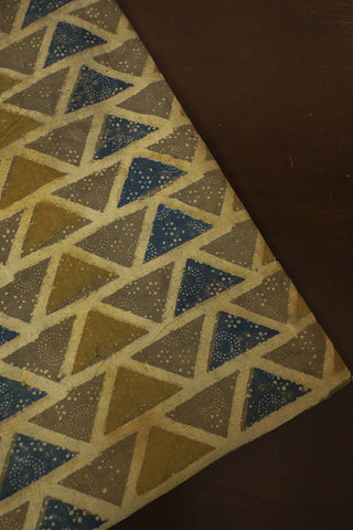 Grey with Indigo Triangle Ajrak Cotton Fabric