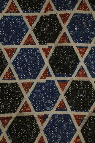 Blue with Black Big Star Ajrak Cotton Fabric